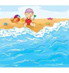 Little baby boy playing on the beach vector