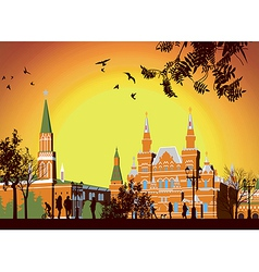 Tourists walk on red square in moscow vector