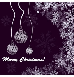Christmas background with balls and snowfakes vector
