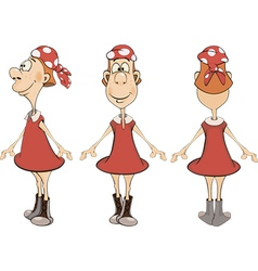 Set of girls in different poses cartoon vector