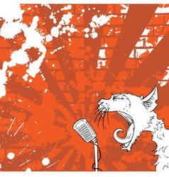 Cat on the microphone vector