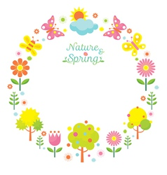 Spring season object icons wreath vector