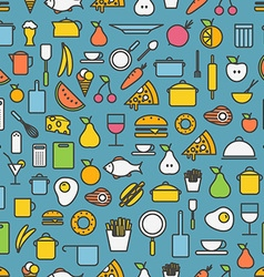 Kitchen tools and meal silhouette icons vector