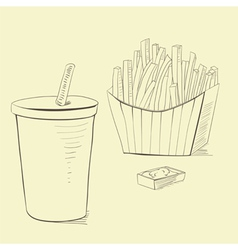 Soda drink with french fries vector