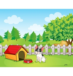 A small dog inside the fence vector