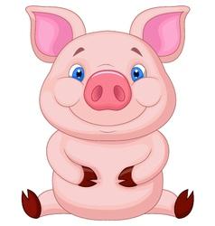 Cute baby pig cartoon sitting vector