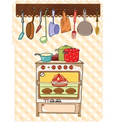 Stove and kitchen tool vector