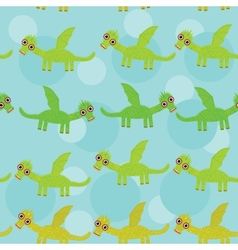 Funny green dragon with wings on blue background vector