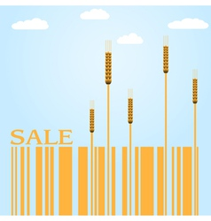 Autumn sale with wheat and barcode vector