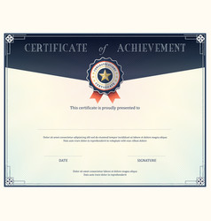 Certificate of achievement frame design template vector