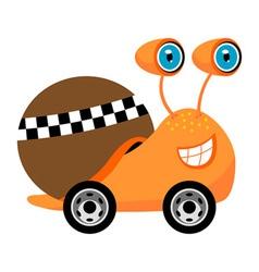 Racer snail cartoon vector