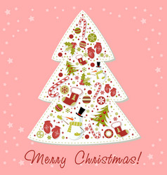 Stylized christmas tree with xmas toys vector