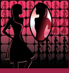 Girl in front of mirror vector