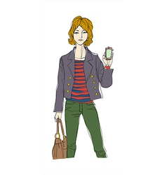 Woman smartphone vector