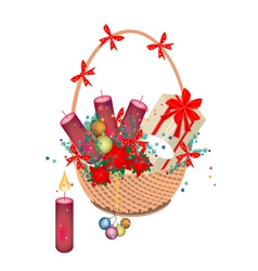 A brown basket of christmas gift and ornament vector