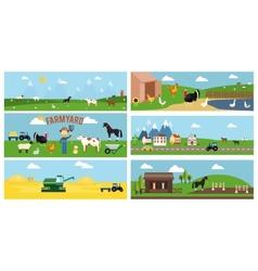 Beautiful farmyard cartoon banners vector