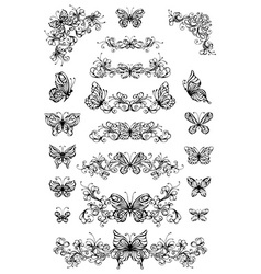 Floral patterns with butterflies vector