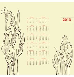 Calendar for 2013 with iris flowers vector