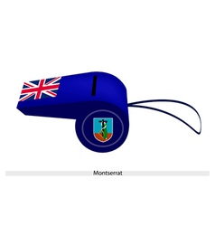 A beautiful blue whistle of montserrat flag vector