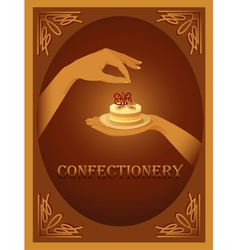 Confectionery sign with almond cake vector