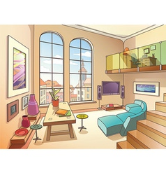 Light living room with a mezzanine vector