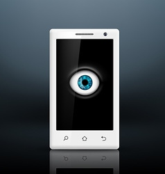 Eye on the screen of your smartphone vector