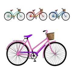 Set of color bicycles vector