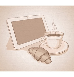 Morning with coffee and tablet canvas vector