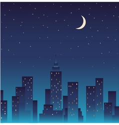 Silhouette of the city and night with stars moon vector