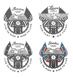 Set of vintage motorcycle emblems vector