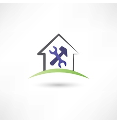 Repairing a house icon vector