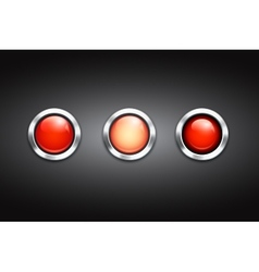 Set of three blank red buttons vector