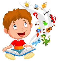 Little boy reading book education concept vector