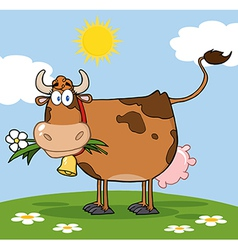 Cow in a paddock vector