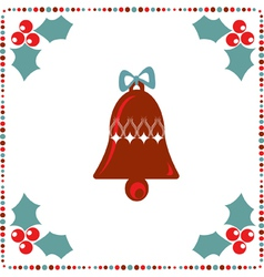 Retro holiday card with a bell and winter berry on vector