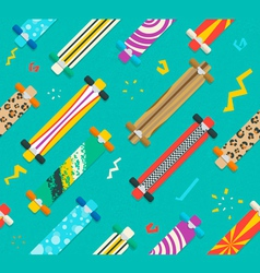 Various longboards diagonal seamless pattern vector