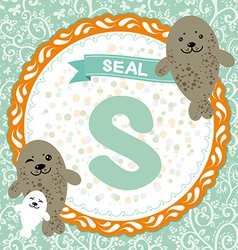 Abc animals s is seal childrens english alphabet vector