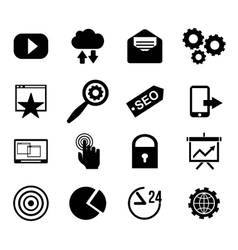 Seo and internet icon set web website vector