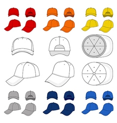 Many-coloured baseball tennis cap outlined templa vector