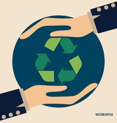 Hand with recycle symbol symbol on the packaging vector