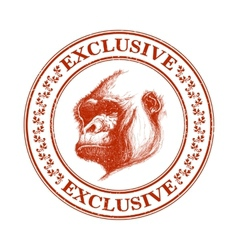 Ape head logo in red and white vector
