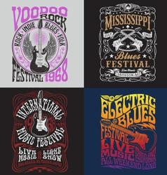 Vintage rock poster t-shirt design set vector