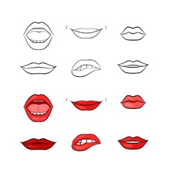 Woman lips and mouth silhouettes vector