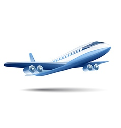 Blue airplane on a white background vector