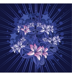 Grunge floral with rays vector
