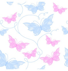 Tender seamless pattern with butterflies vector