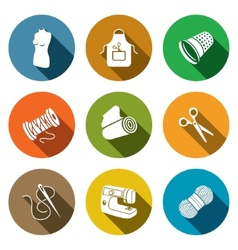 Sewing clothing manufacture icon collection vector