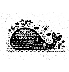 Vintage grunge label with whale vector