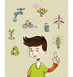 Go green teenager shows eco friendly icons vector