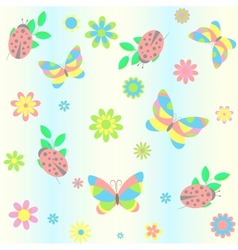 Background with butterfly and ladybird vector